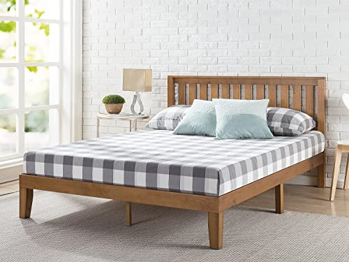 Zinus Alexia 12 Inch Wood Platform Bed with Headboard No Box Spring Needed Wood Slat Support Rustic Pine Finish, Queen