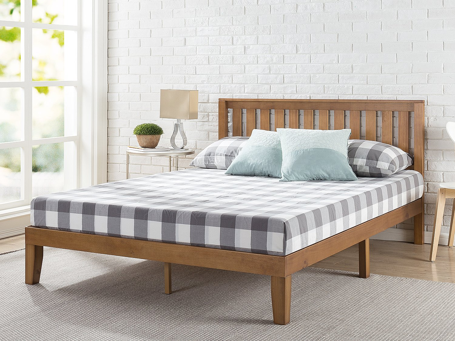 Zinus 12 Inch Wood Platform Bed with Headboard / No Box Spring Needed / Wood Slat Support / Rustic Pine Finish, Twin