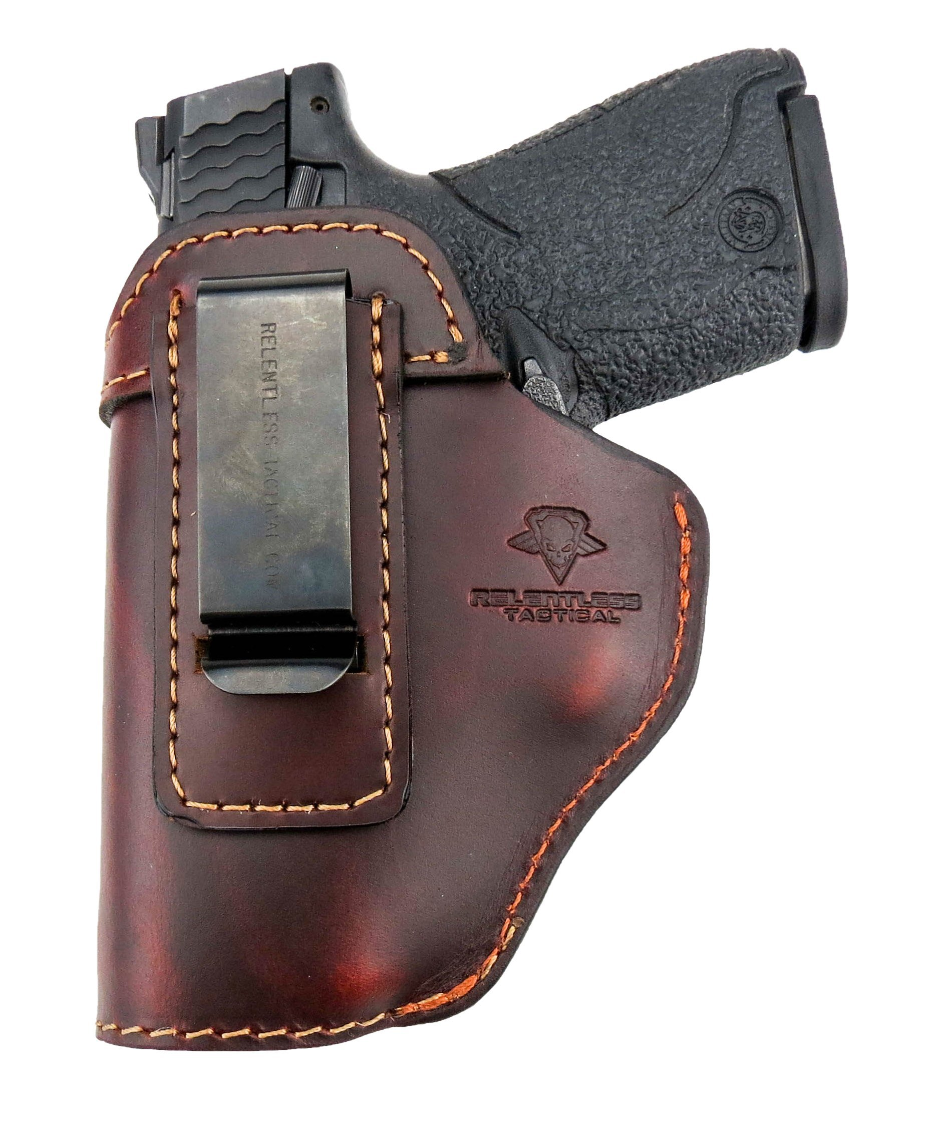 Relentless Tactical The Defender Leather IWB Holster - Made in USA - for S&W M&P Shield - Glock 17 19 22 23 32 33 / Springfield XD & XDS/Plus All Similar Sized Handguns – Brown – Left Handed by Relentless Tactical (Image #3)