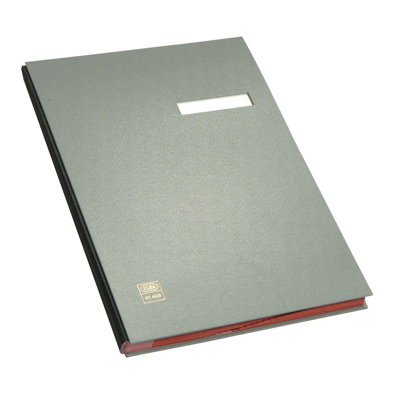 ELBA 400001002 Unterschriftenmappe 20 F/ächer aus Karton mit PVC veredelt mit rotem L/öschkarton verst/ärkte Wendetaben schwarz