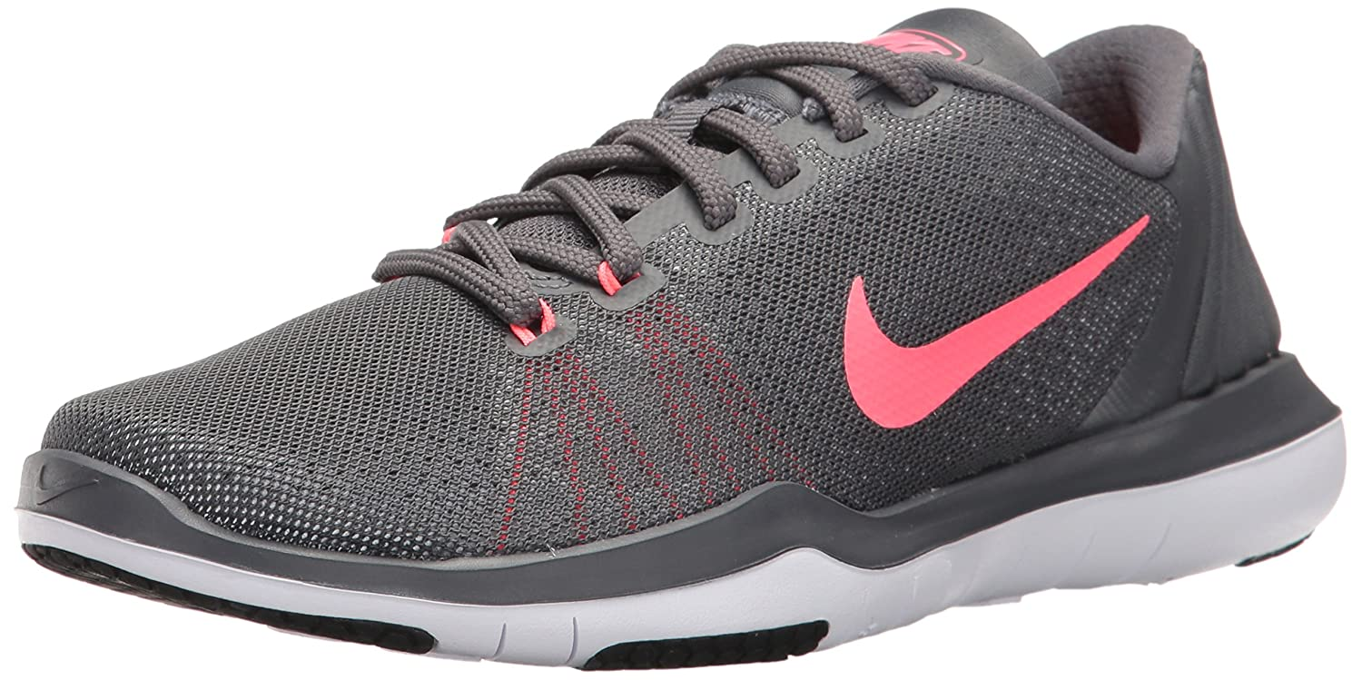 NIKE Women's Flex Supreme TR 5 Cross Training Shoe B01FVNC7BK 8.5 B(EEEE) US|Grey Hot Punch White Black