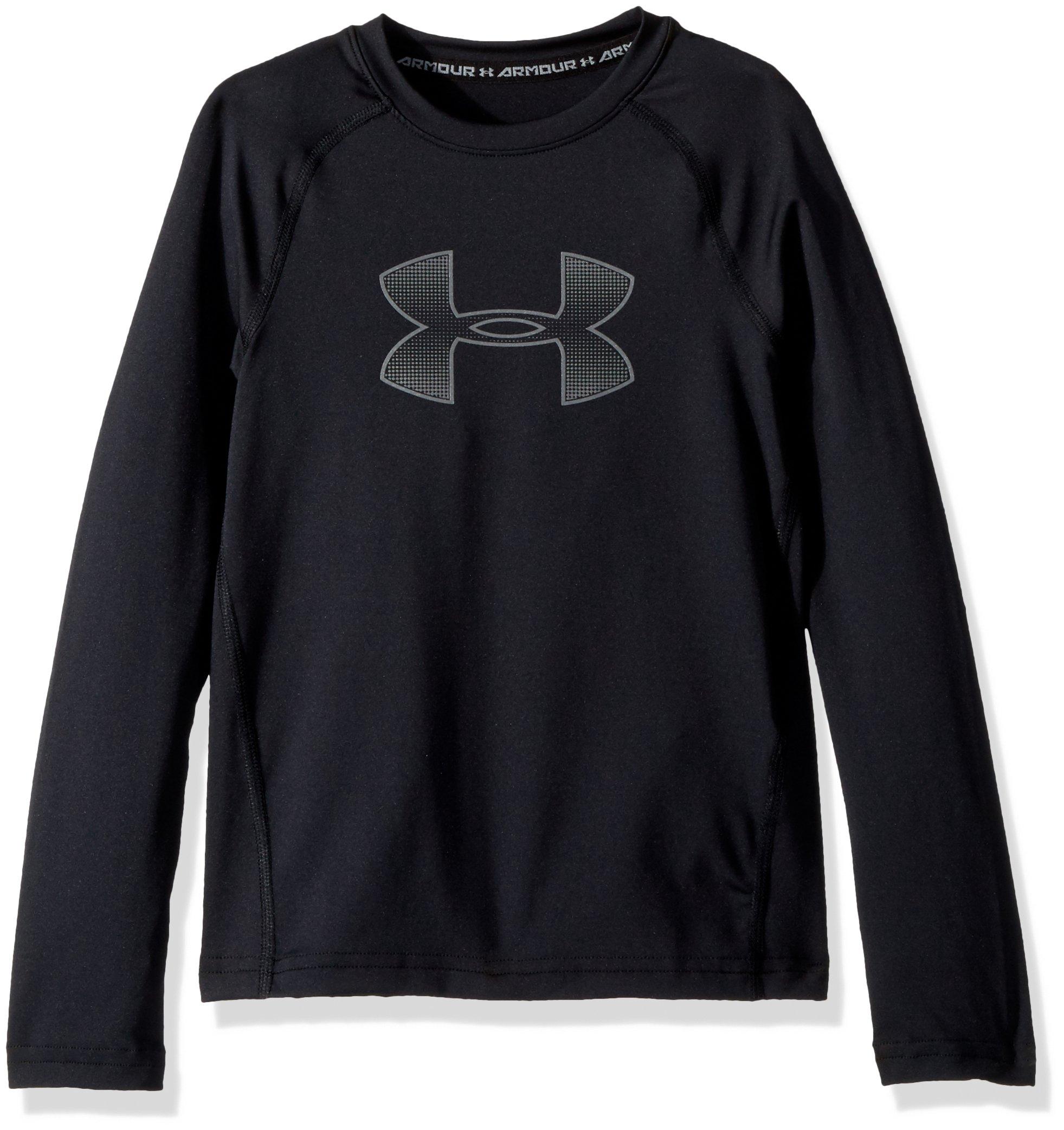 Under Armour Boys' HeatGear Armour Long Sleeve, Black (002)/Graphite, Youth X-Small