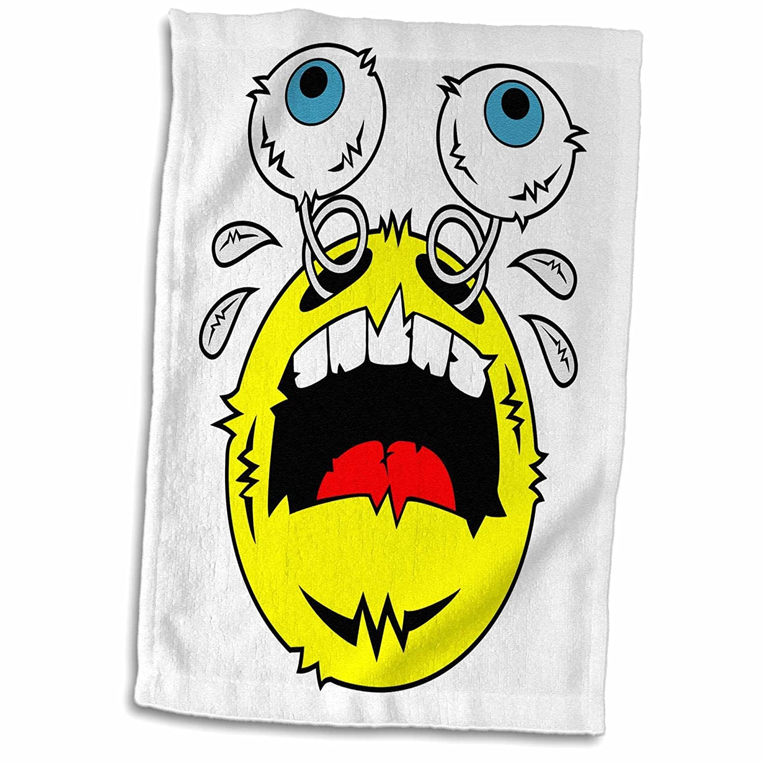3D Rose Weirdo Art Image of a Crying Emoticon Freaking Out on a White Canvas TWL/_173496/_1 Towel 15 x 22