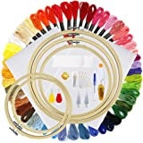 Pllieay Embroidery Starter Kit with 5 Pieces Bamboo Embroidery Hoops, 50 Color Threads, 2 Pieces 12 by 18-Inch 14 Count Classic Reserve Aida and Cross Stitch Tool Kit