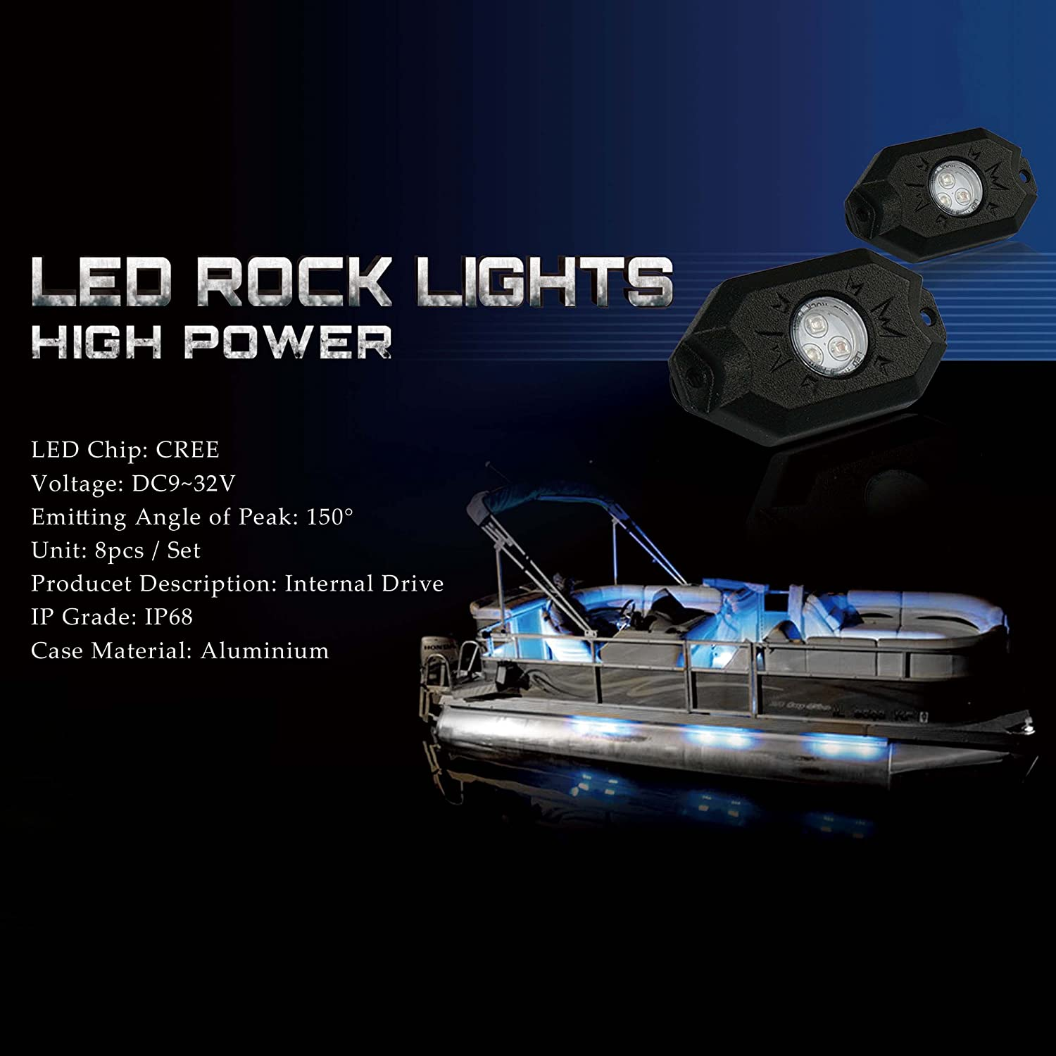 Amazon Xprite 3rd Gen 8 Pods RGB LED Rock Lights with