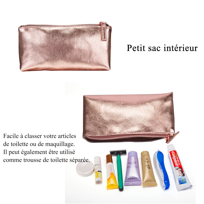 3a32f550f6 Srotek Trousse de Maquillage Imperméable Trousse de Toilette en Cuir pour  Femmes Sac Cosmétique de Voyage Portable Pochette de Maquillage Sac de  Rangement ...