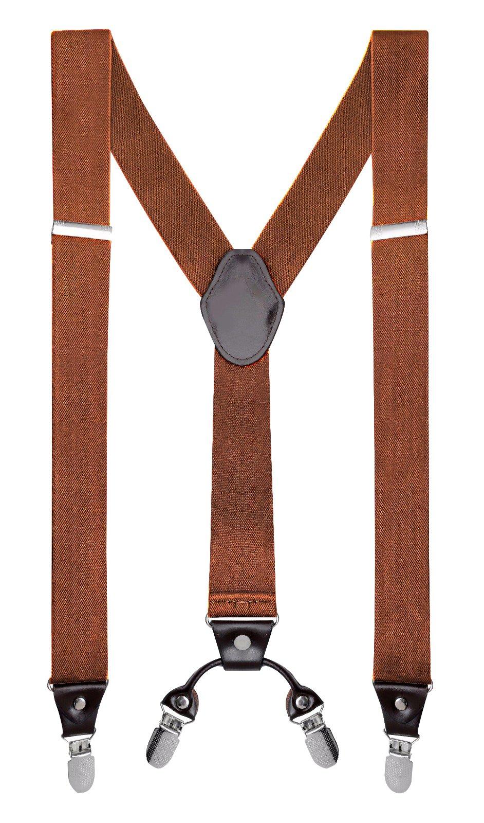 "Buyless Fashion Mens 48'' Elastic Adjustable 1 1/4"" Suspenders In Y Shape – Camel"