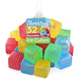 Thornton's Reusable Plastic Ice Cubes, Assorted Colors (32 Cubes)