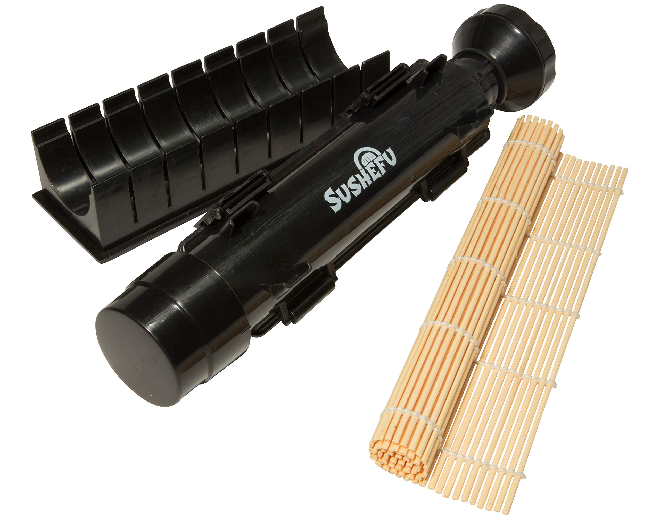 Sushi Bazooka Maker - Food Quality All in 1 Sushi Roller with Bamboo Mat and Slicer - Full Instructions and Recipe eBook Included - Black by Sushefu (Image #1)
