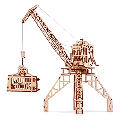 Wood Trick Crane Toy Set + Container, Wooden Toy Crane Playset Mechanical Model - Construction Toys - 3D Wooden Puzzle, Assembly Model, ECO Wooden Toys, Best DIY Toy - STEM Toys for Boys and Girls: Toys & Games