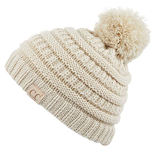 535140aa7b3 C.C Kids Beanie Ages 2-7 Warm Chunky Thick Stretchy Knit Slouch Beanie  Skull Kids Hat with Pom (YJ-847-POM)