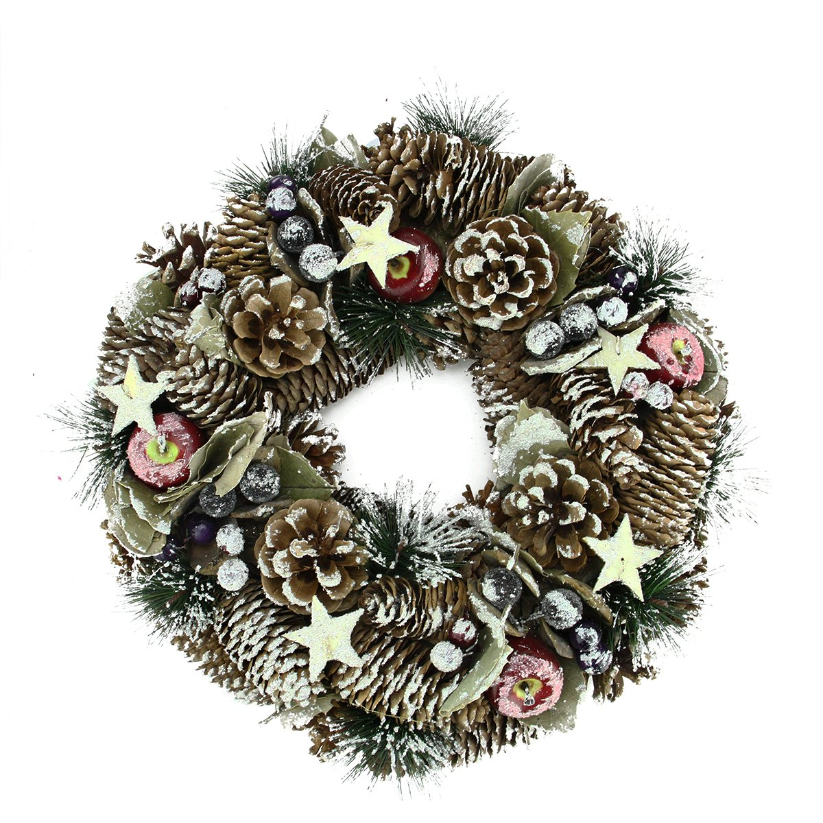 Frosted Artificial Pine Cone Fruit and Berry Christmas Wreath