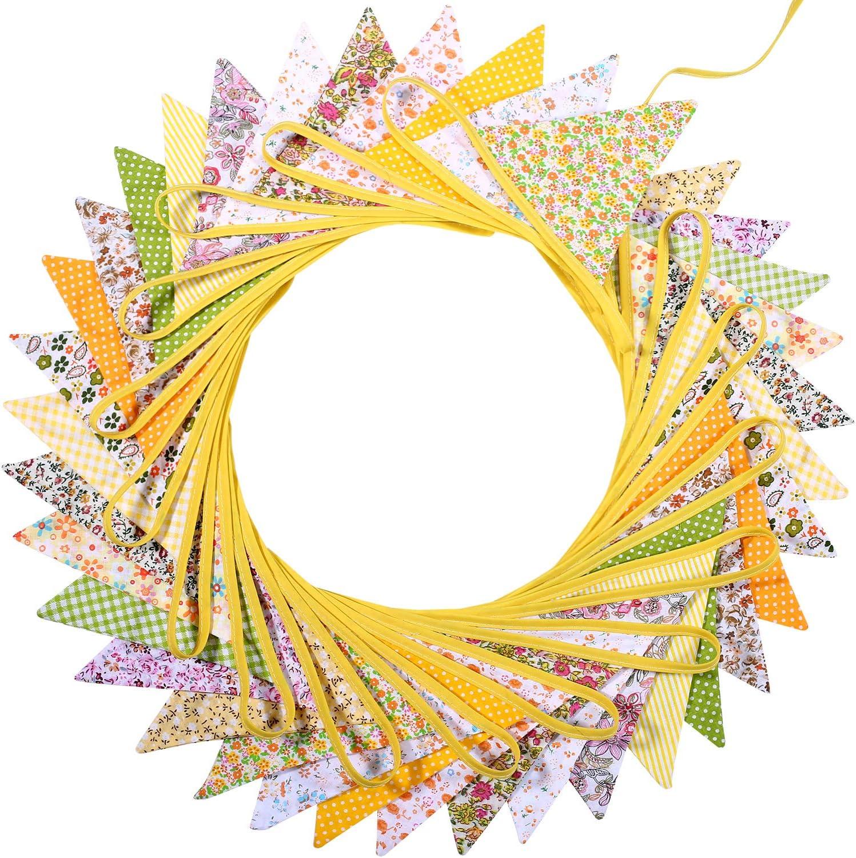 Estilo 4 33 Pies de Banderines de Doble Cara Elegantes para Verano Boda Cumplea/ños Fiesta de Bienvenida a Beb/é Bandera de Tela Hechos de 36 Banderas en 18 Patrones de Estilos Diferentes /