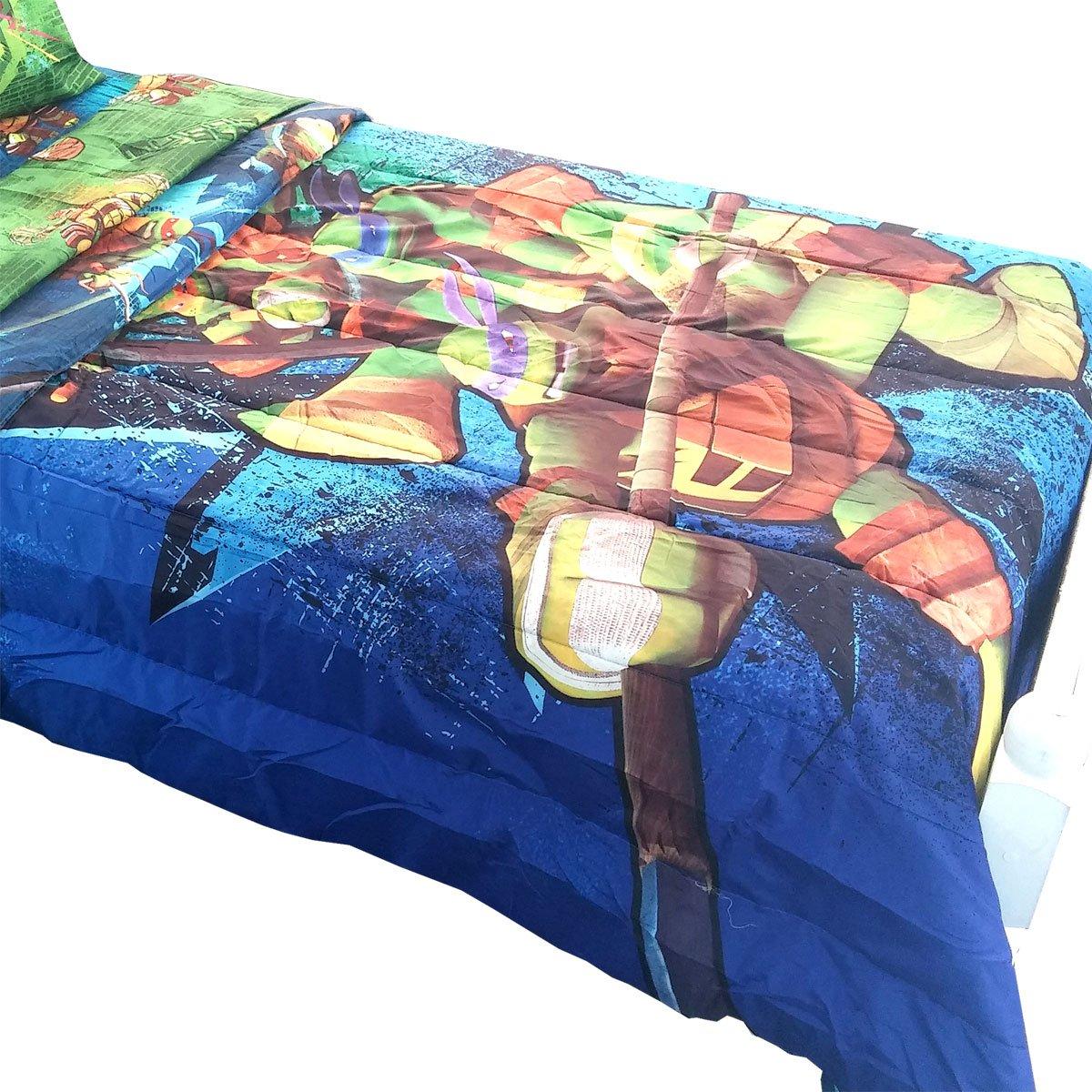 amazoncom teenage mutant ninja turtles twinfull bed comforter time to shell up bedding home u0026 kitchen