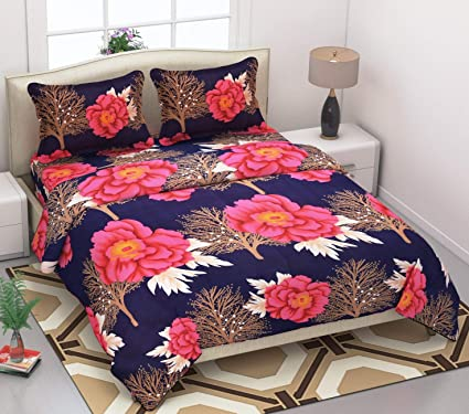 DINNY 3D Printed Microfiber Double Bedsheet with 2 Pillow Covers (Multicolour)