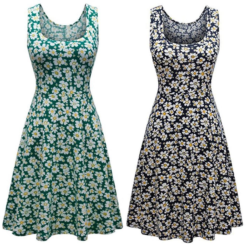 Misaky Clearance Womens Sleeveless Scoop Neck Summer Beach Midi A Line Tank Dress at Amazon Womens Clothing store: