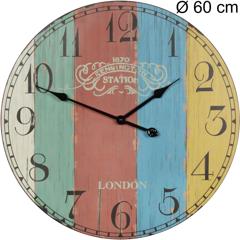 WOHNLING Deko Vintage Wanduhr XXL Ø 10 cm London Stripes Holz bunt  Große  Uhr rustikal Dekouhr rund  Design:etro Küchenuhr für Küche und Wohnzimmer