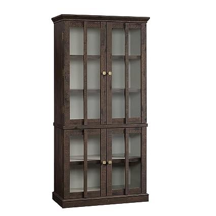 Superieur Sauder 419065 Tall Display Cabinet, Coffee Oak Finish
