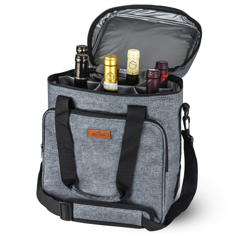 Freshore Insulated Wine Carrier 6 Bottle Bag Tote Removable Padded Divider Cooler - Portable Travel Carrying Canvas Case Adjustable Shoulder Strap - (Space Grey)
