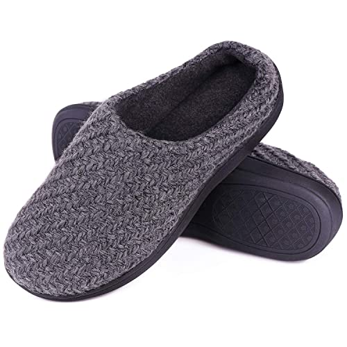 a98fbb96274e8 LongBay Men's Woolen Yarn Memory Foam House Slippers Fleece Clogs House  Shoes for Indoor Outdoor Use