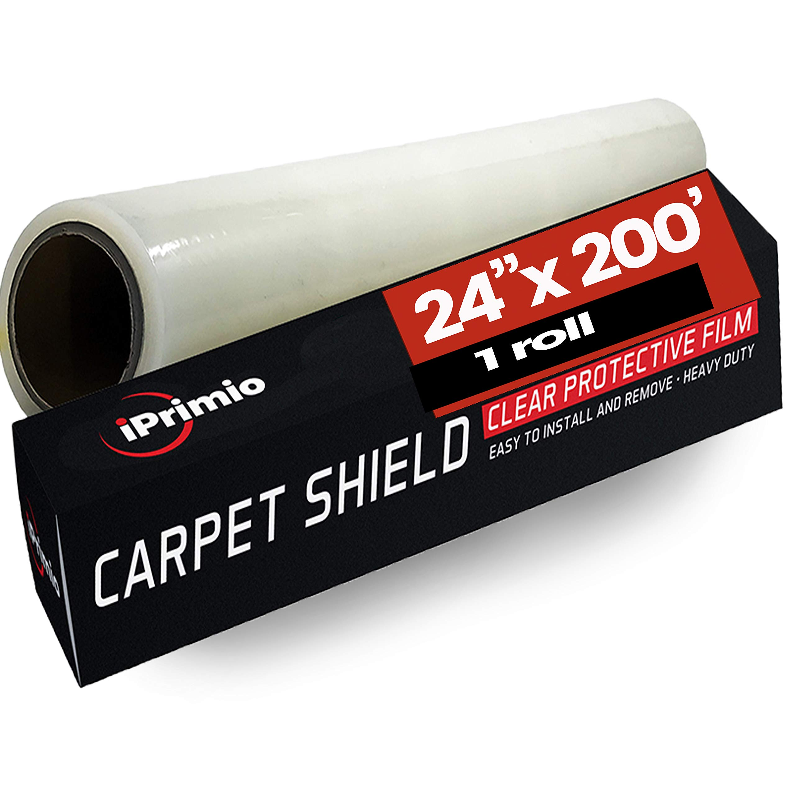 IPRIMIO Protective Film for Surface, Carpet and Paint Protection - 24'' by 200 Feet Clear Sheet – Tear Resistant, 2mm Extra Thick and 50 Microns Thickness – Multipurpose Indoor and Outdoor use
