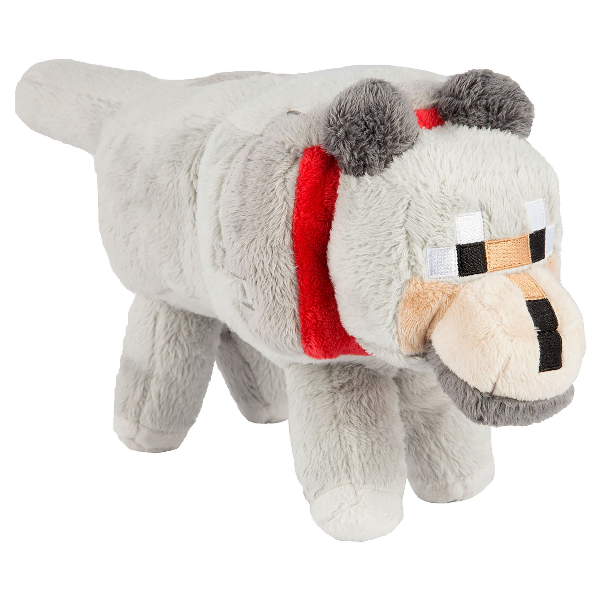 JINX Minecraft Wolf Plush Stuffed Toy (Grey, 15'' Long)