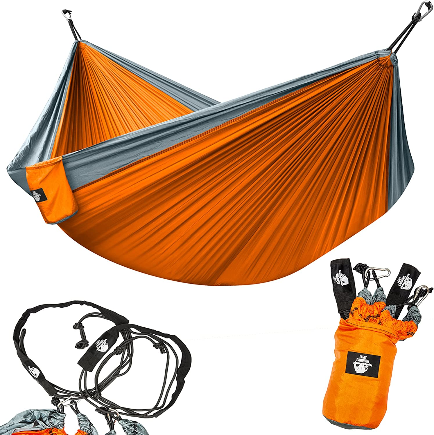 Legit Camping Portable Double Hammock - Grey/Orange - 400 lb Weight Capacity