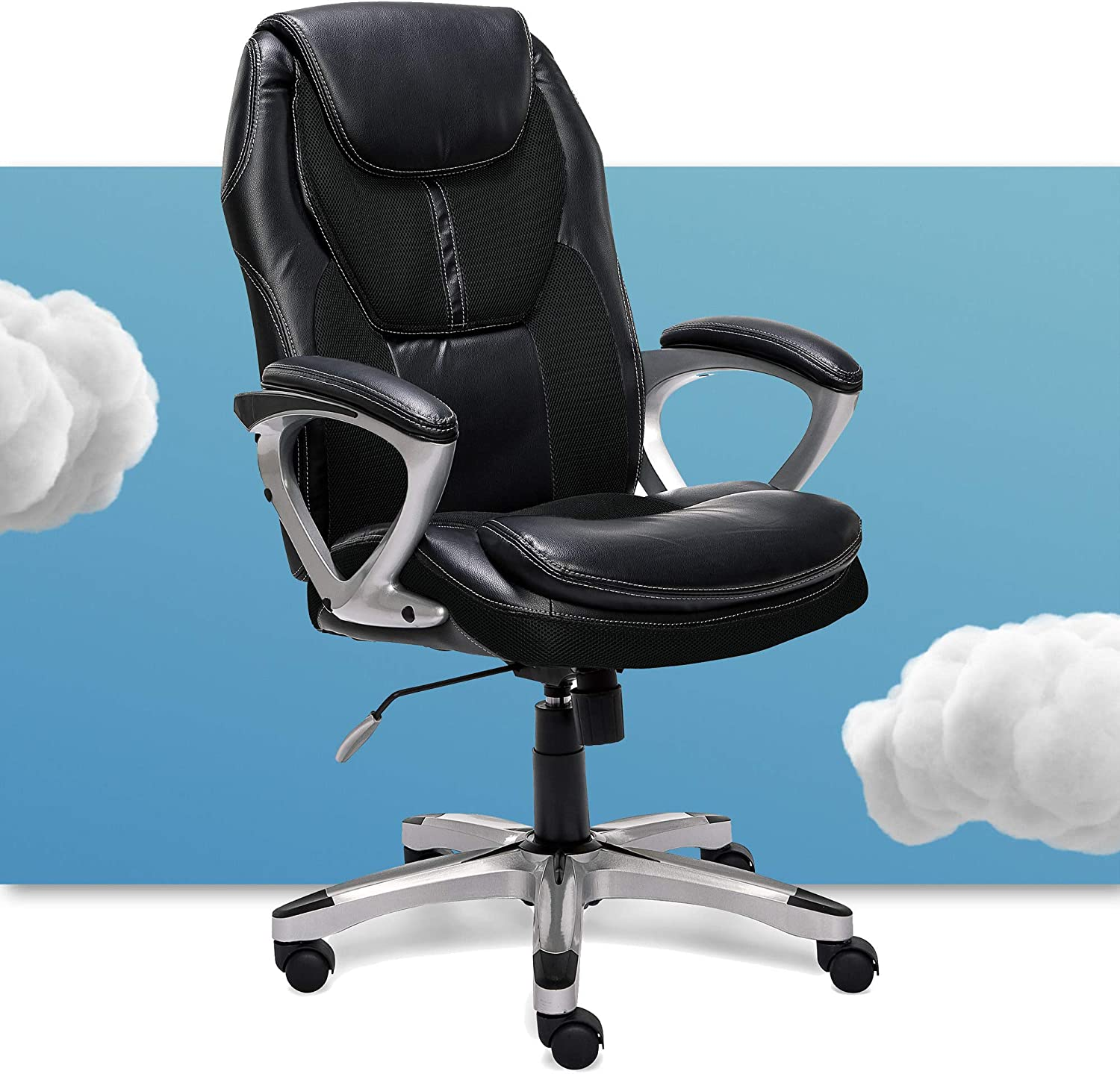 Amazon Com Serta Executive Office Padded Arms Adjustable Ergonomic Gaming Desk Chair With Lumbar Support Faux Leather And Mesh Black Furniture Decor