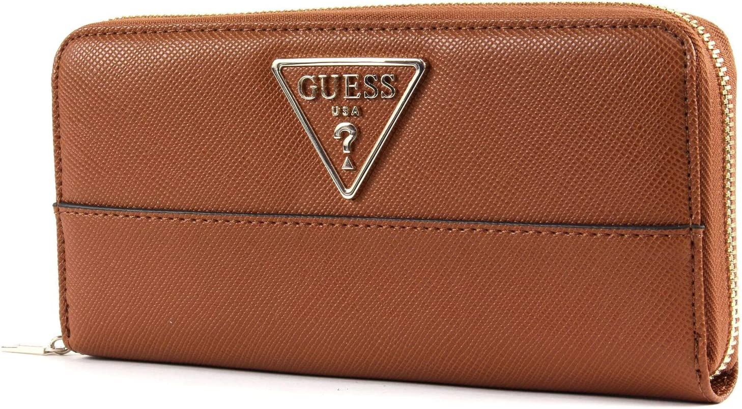 GUESS Alby SLG Large Zip Around Geldbörse Brown Braun Neu