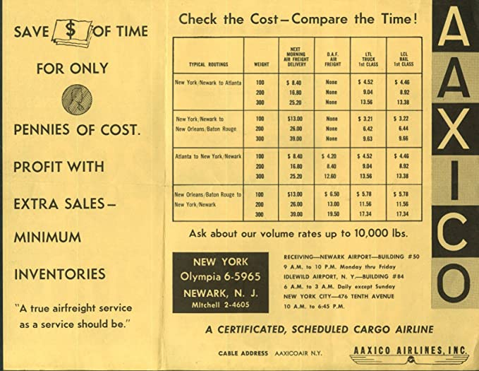 Aaxico Airlines Whats Your Weight Airline Cargo Info Mailer 1950s At Amazons Entertainment Collectibles Store