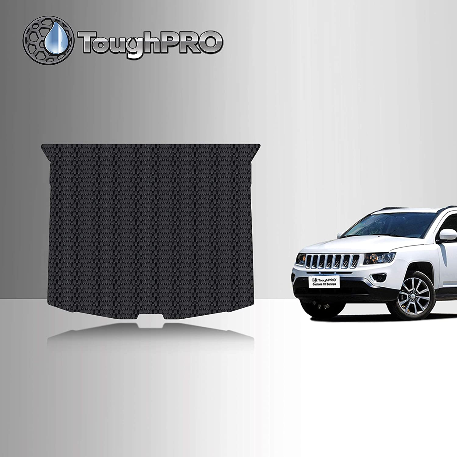 TOUGHPRO Cargo/Trunk Mat Accessories Compatible with Jeep Compass - All Weather - Heavy Duty - (Made in USA) - Black Rubber - 2017, 2018, 2019, 2020, 2021