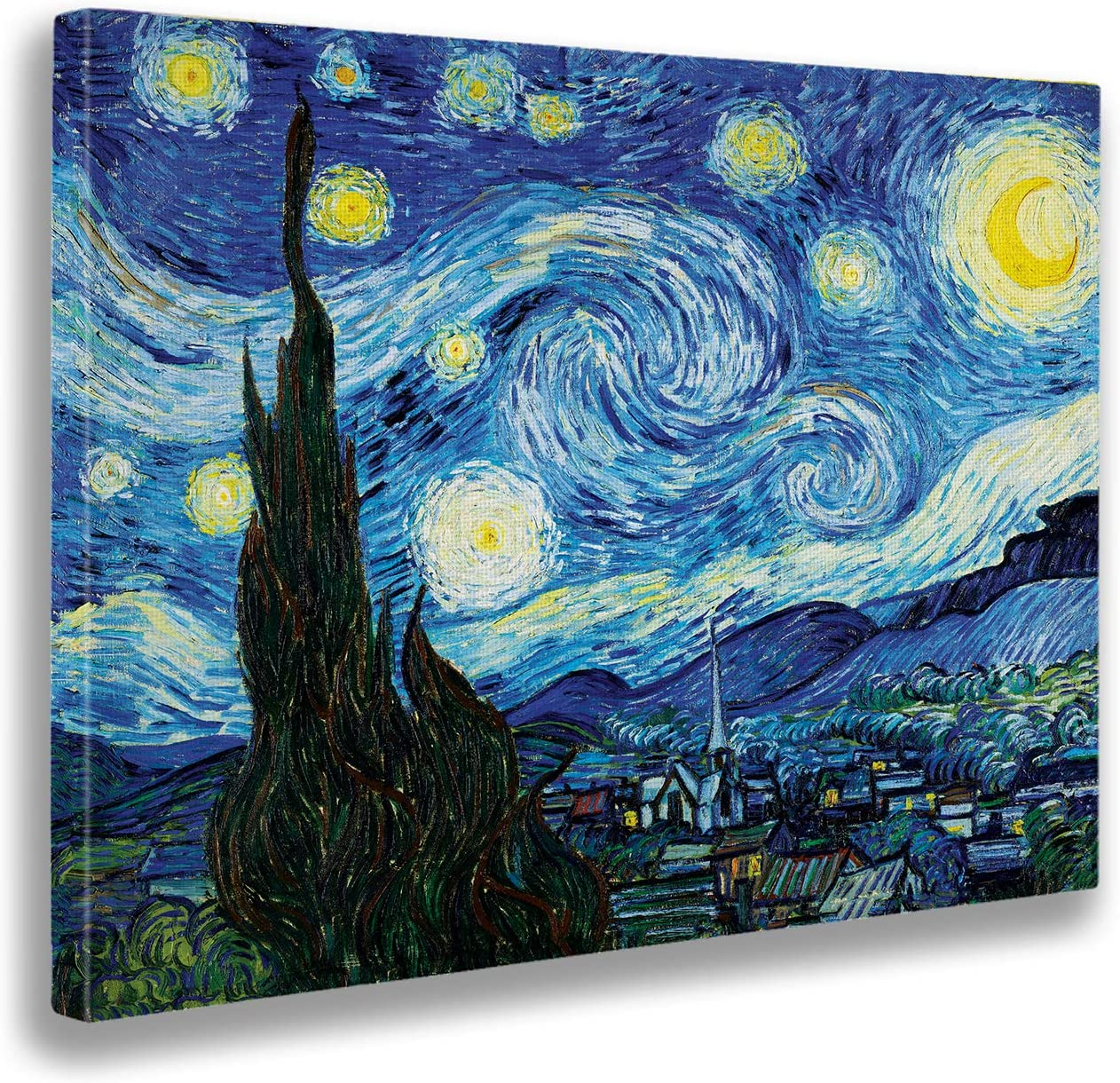 Giallobus - Cuadro - Impresion EN Lienzo - Vincent Van Gogh - Noche DE Estrellas - 100 x 140 CM
