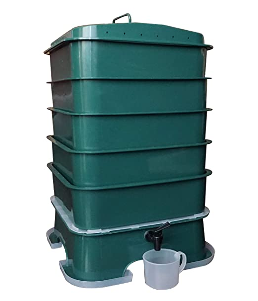 VermiHut Plus - Cubo de Basura para Compost (5 bandejas ...