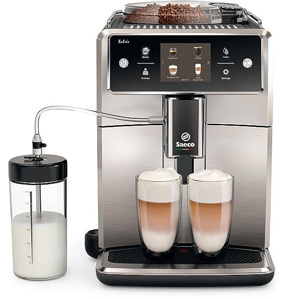 Saeco sm7683/00 Xelsis – Cafetera automática, innovadora pantalla táctil, acero inoxidable/negro