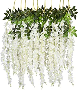 DearHouse 6 Pack 3.75 Feet/Piece Artificial Fake Wisteria Vine Ratta Hanging Garland Silk Flowers String Home Party Wedding Decor (6PCS-Large White Wisteria)