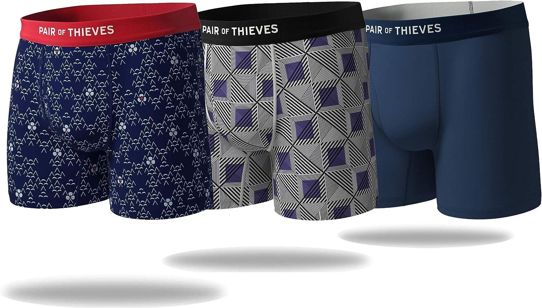 Pair of Thieves Men's 3 Pack Mega Soft Boxer Briefs - Breathable Cotton/Modal Blend - No Chafe Seam Underwear for Men