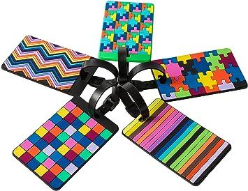 5 piezas de etiquetas de equipaje, identificador para maletas, bolsas - coloridas, resistentes, elegantes, modernas: Amazon.es: Equipaje