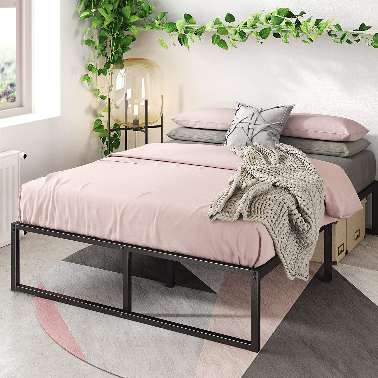 Zinus Lorelai 14 Inch Metal Platform Bed Frame Steel Slat Support No Box Spring Needed Underbed Storage Space Easy Assembly Full Furniture Decor