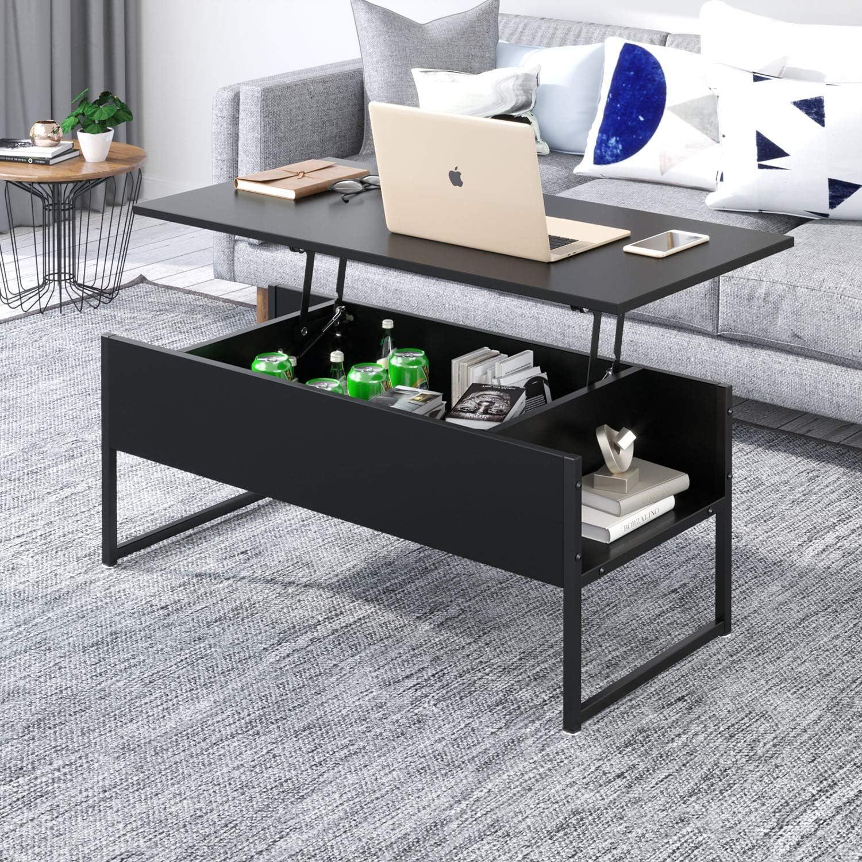 Joolihome Table basse relevable avec espace de rangement caché pour la  maison et le bureau, mobilier de salon en bois et métal, table idéale pour