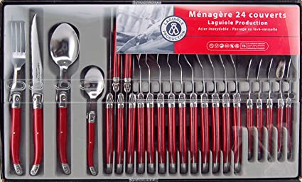 Laguiole Production 400050 - Conjunto 24 Pzas Laguiole Cubertería de Acero Inoxidable con Mango color Rojo
