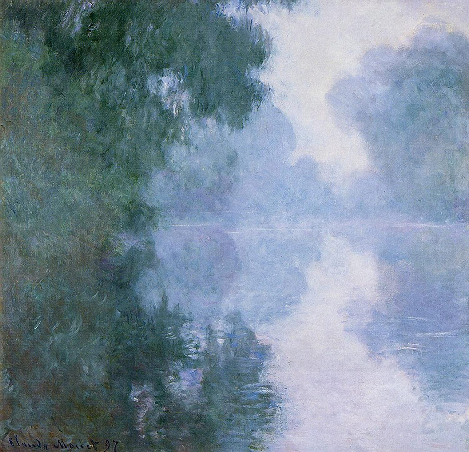 "Amazon.com: Claude Oscar Monet - The Seine at Giverny, Morning Mists North  Carolina Museum of Art - Raleigh 30"" x 28"" Wall Art Giclee Canvas Print  (Unframed): Posters & Prints"