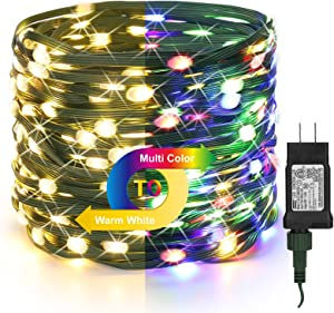 BrizLabs Christmas Tree Lights, 98ft 300 LED Color Changing Christmas Lights, 9 Lighting Modes Warm White & Multicolor Outdoor Christmas Light, Green Wire Plug in Lights for Xmas Party Home Decor