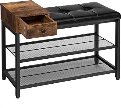 Metal Shoes Bench Storage 4 Tiers Mesh Shelves,Entryway Table for Hallway,Living Room Kamiler Industrial Shoe Rack with Drawers Black