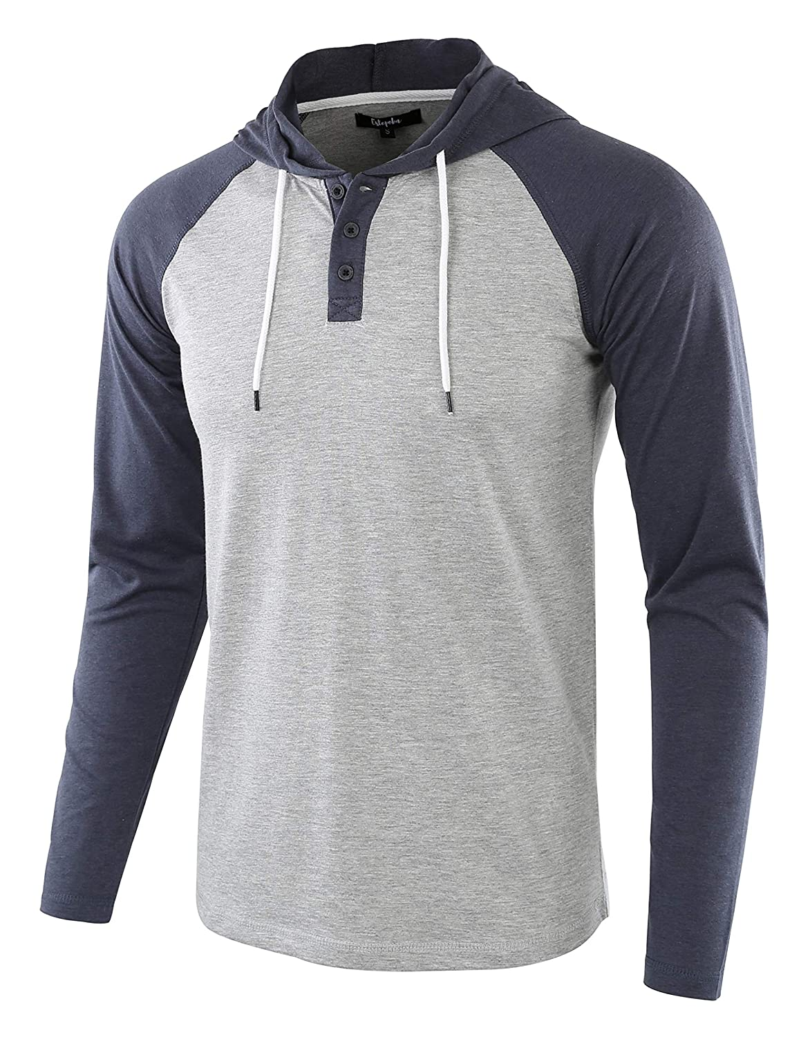 Estepoba Mens Athletic Fit Lightweight Henley Hooded Pullover Jersey Shirt