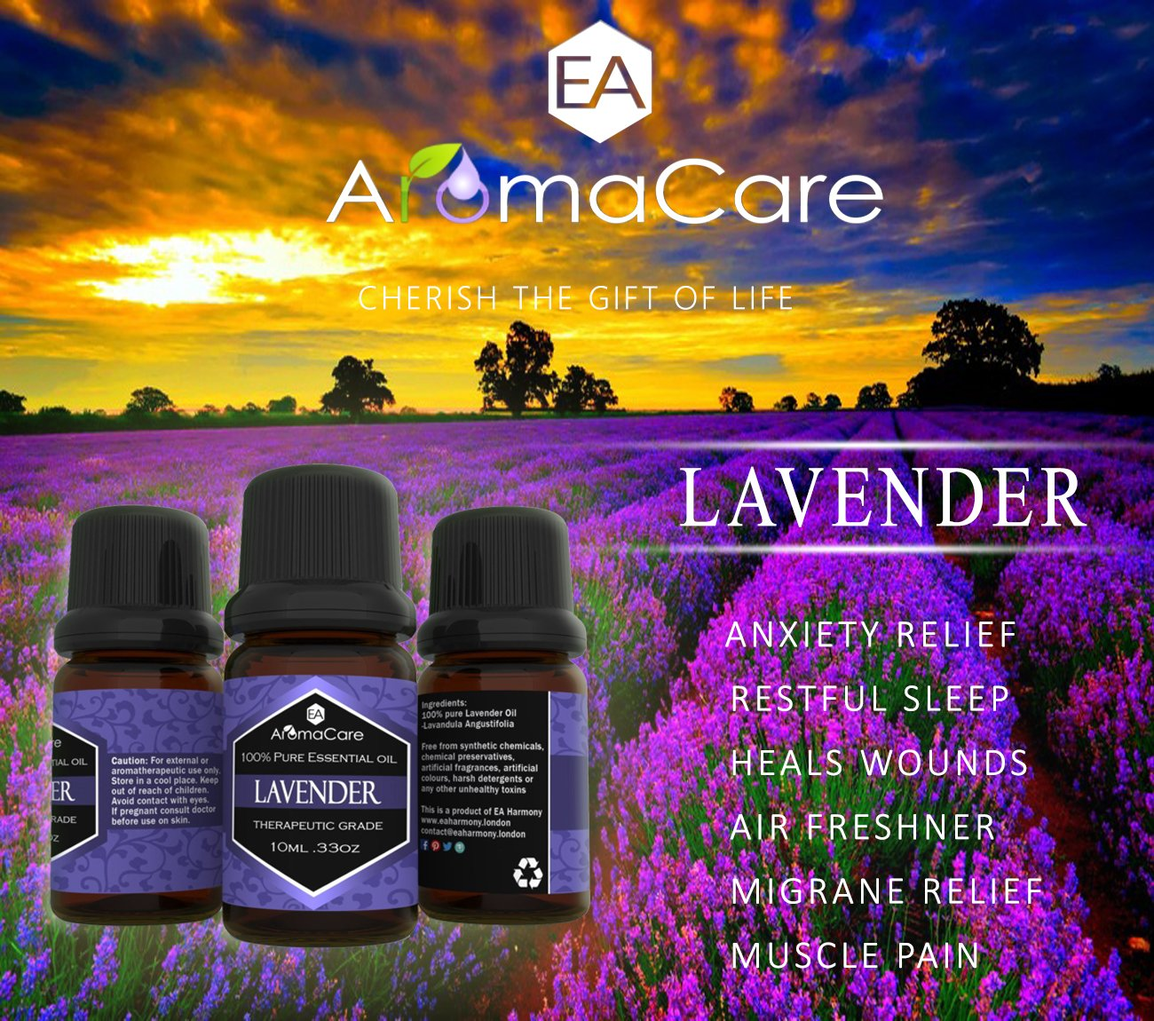 Aromatherapy Essential Oils Gift Set in a EXCLUSIVE WHITE BOX (Lavender, Peppermint, Lemongrass, TeaTree, Eucalyptus, Bergamot) FREE Essential Oil Pendant and ebook by EA AromaCare (Image #4)