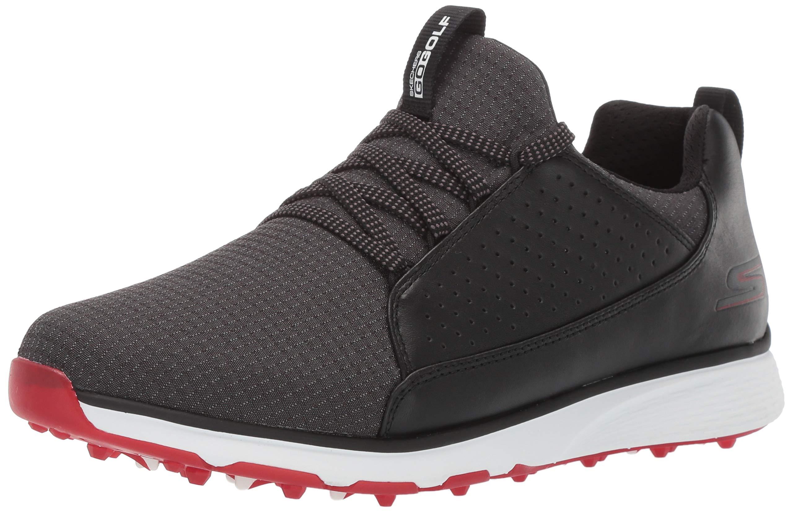 Skechers Men's Mojo Waterproof Golf Shoe, Black/red Textile, 8.5 M US by Skechers