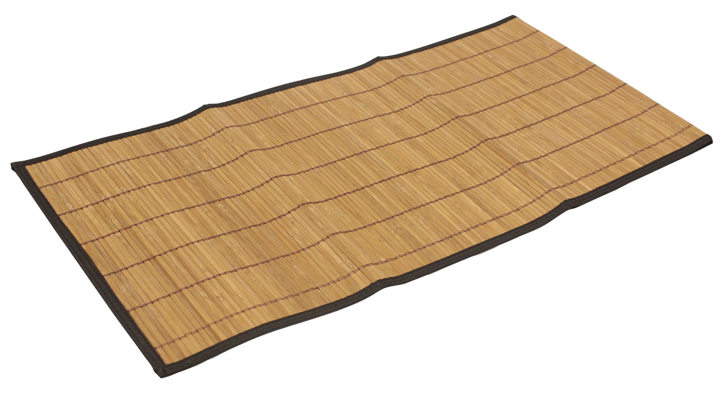 "Seta Direct, Brown Bamboo Slat Table Runner With Black Color Border (13""x48"") - Natural brown bamboo flat slats table runner with black color fabric border. Add a natural décor to your dining table while protecting it. 13 x 48 inches (Each bamboo slat is approximately 4mm wide and 2mm thick) Cheesecloth fabric backing to protect table surface and hold bamboo slats together - placemats, kitchen-dining-room-table-linens, kitchen-dining-room - 81GjJhA0TqL -"