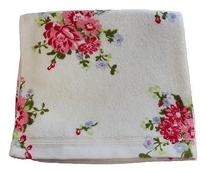 Homescapes Toalla de Manos con Estampado Floral portugués en Color Blanco