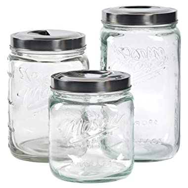 Mason Craft & More Airtight Kitchen Food Storage Clear Glass Pop Up Lid Canister, 3 Piece Pop Up Canister Set