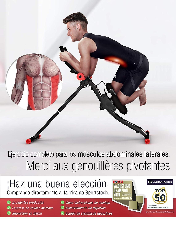 Sport STech - BT300 Unisex Profesional Entrenamiento Abdominal con Apoyo para Las Rodillas, para Abdominales, Sistema de Doble Carril, ...